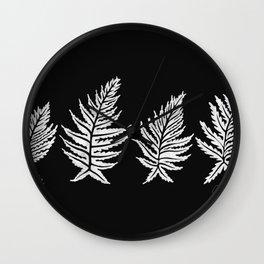 Inked Ferns – White Ink on Black Wall Clock