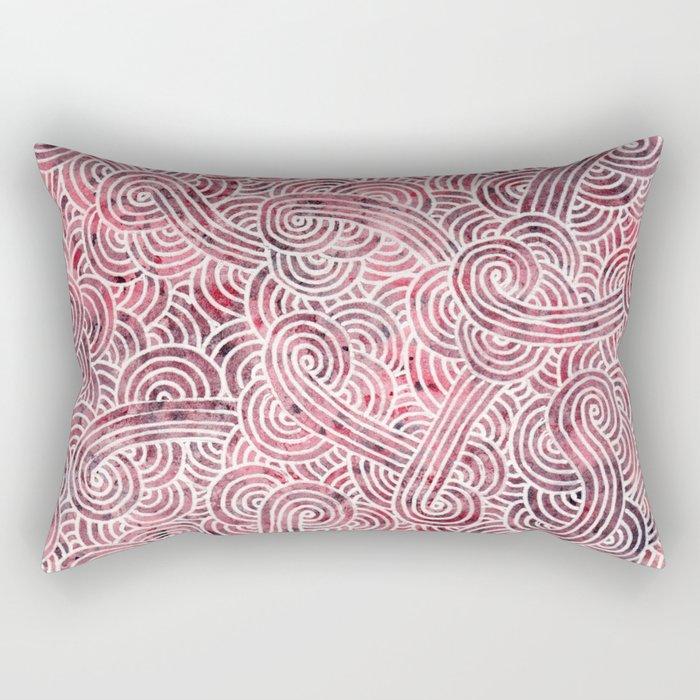 Burgundy red and white swirls doodles Rectangular Pillow