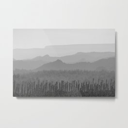 Sunrise at the misty mountains. Bad lands. WB Metal Print