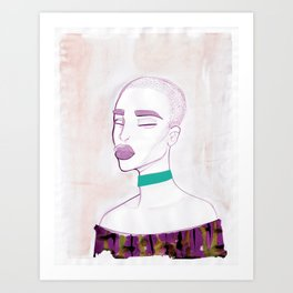 Eva with a 90s choker Art Print