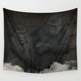 Gorilla Mother Has Her Cheeky Son By The Scruff Of His Neck Wall Tapestry