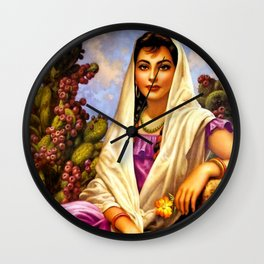 Jesus Helguera Painting of a Calendar Girl with Cream Shawl Wall Clock
