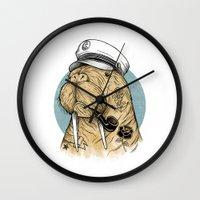 walrus Wall Clocks featuring WALRUS by Thiago Bianchini
