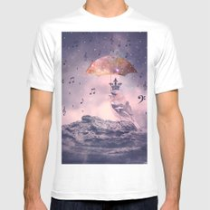 Down Pour White Mens Fitted Tee SMALL