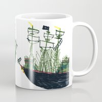 ships Mugs featuring Ships by kiwiroom