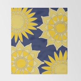 Sunshine yellow navy blue abstract floral mandala Throw Blanket
