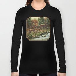 Whitetil Deer Doe & Buck by Waterfall Long Sleeve T-shirt