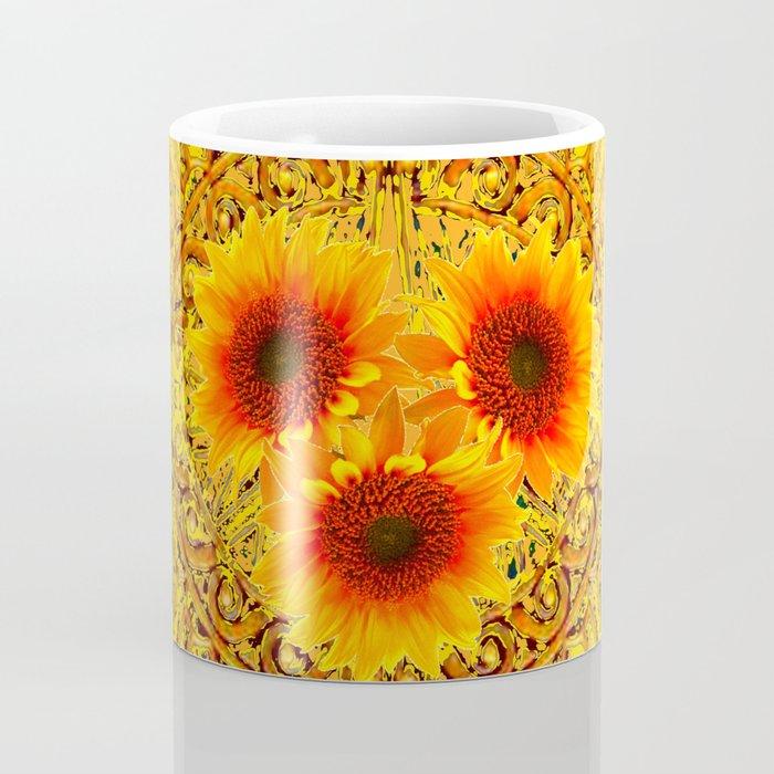 69bc021231f ART DECO GOLDEN SUNFLOWERS ABSTRACT Coffee Mug