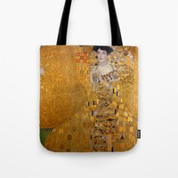gustav klimt Tote Bags featuring Adele Bloch-Bauer I by Gustav Klimt by Palazzo Art Gallery