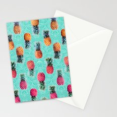 From Pineapple to Pink - tropical doodle pattern on mint Stationery Cards