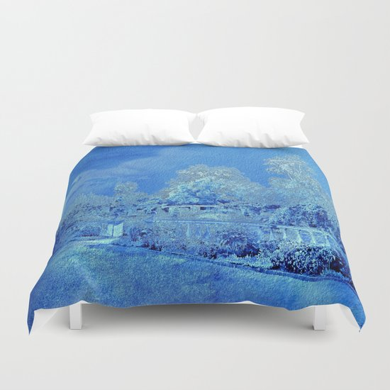 Wedgewood Blue English Garden Duvet Cover