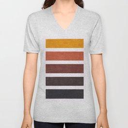Colorful Brown Geometric Pattern Unisex V-Neck