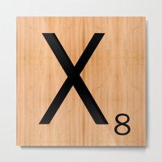 Scrabble Letter Tile - X Metal Print