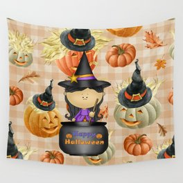 Pumpkins and Witch Wall Tapestry