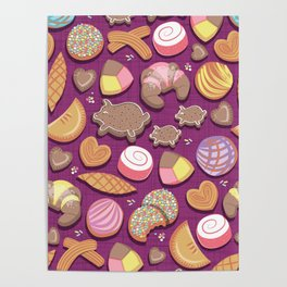 Mexican Sweet Bakery Frenzy // pink background // pastel colors pan dulce Poster