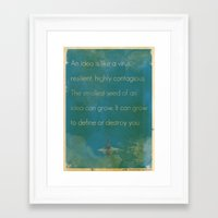 inception Framed Art Prints featuring Inception by The Quotes Project