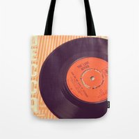 record Tote Bags featuring Vintage Record  by secretgardenphotography [Nicola]