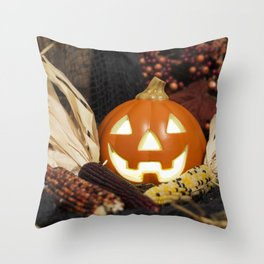 Smiling Jack O' Lantern and Indian Corn Throw Pillow