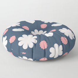 Pink and Grey flower pattern  Floor Pillow