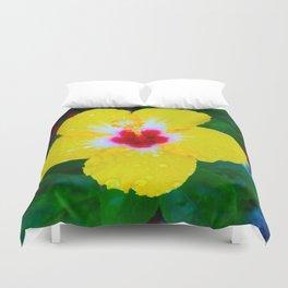 Rain Kissed Yellow Hibiscus Duvet Cover
