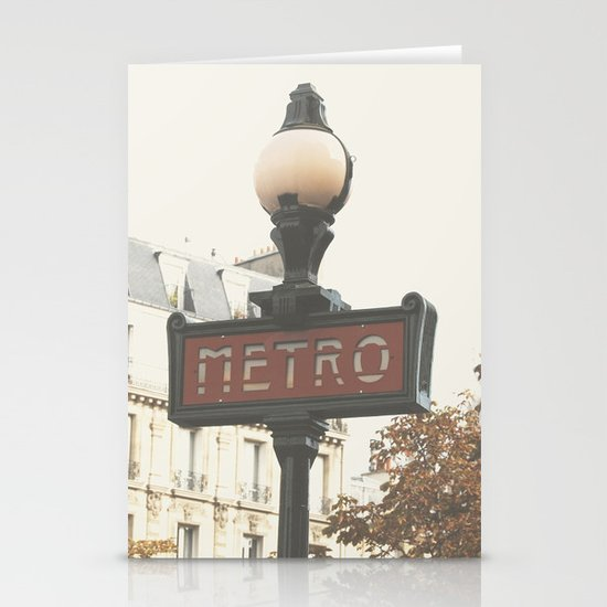 Metro - Paris Sign Photography Stationery Cards