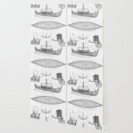Vintage Viking Naval Ship History and Diagram Wallpaper