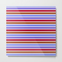 Modern violet red brown geometrical stripes pattern Metal Print