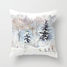 Tiny Elves Throw Pillow
