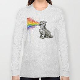 Kitten Puking Rainbow Cat Rainbow Vomit Long Sleeve T-shirt