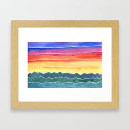 Mountains of Waves Watercolor Painting Framed Art Print