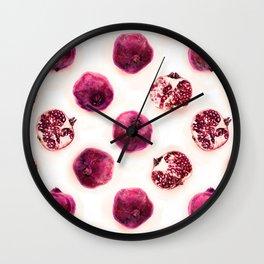 Pink Pomegranate Polka Dots Wall Clock