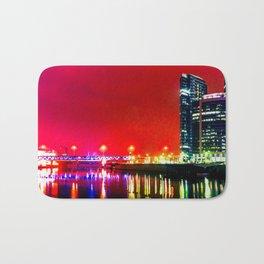 Skyscrapers, River, Red Night Bath Mat