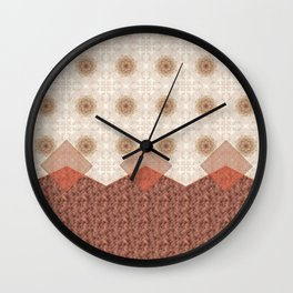 Terracotta Diamond Mandala and Graphic Weave Tile Wall Clock