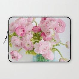 Dreamy Shabby Chic Ranunculus Peonies Roses Print - Spring Summer Garden Flowers Mason Jar Laptop Sleeve