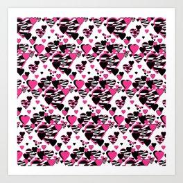 Hot Pink Zebra Animal Print Geometric Hearts Art Print