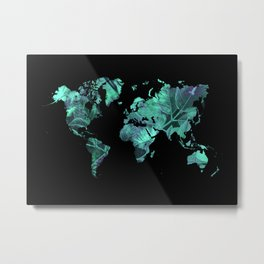 world map 77 blue Metal Print