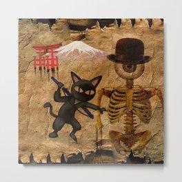 The cat and Monsieur Bone in Japan Metal Print