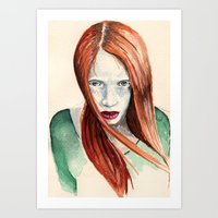 ginger Art Prints featuring Ginger by Roxie Emm