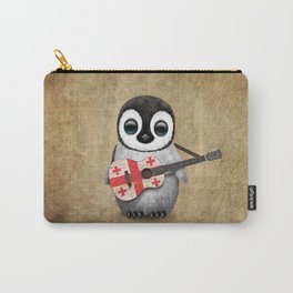 Baby Penguin Playing Georgian Flag Acoustic Guitar Carry-All Pouch