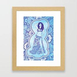 Henna Belly Dancer - blue glitter Framed Art Print