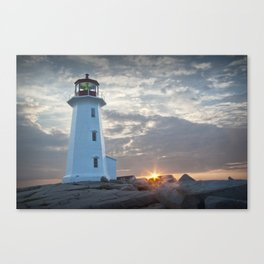 Sunrise at Peggys Cove Lighthouse in Nova Scotia Canvas Print