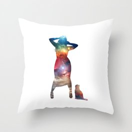 Rainbow Cat Girl Throw Pillow