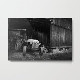 Tractor in barn Metal Print