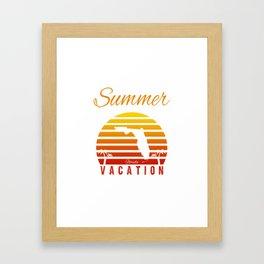 Summer Vacation Florida Miami Beach Holiday Sunset Retro Vintage Framed Art Print