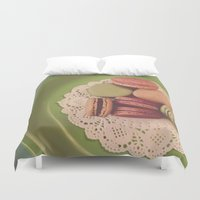 macaroon Duvet Covers featuring Macarons on Green by Jessica Torres Photography