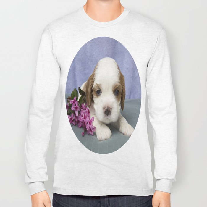 Puppy with flowers Long Sleeve T-shirt