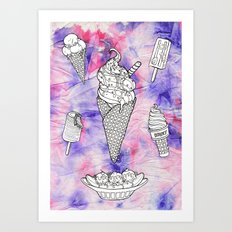 RAINBOW ICE CREAM Art Print