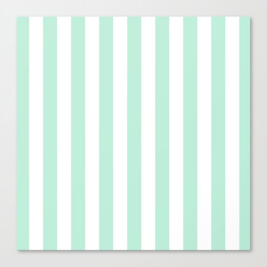 Mint green and White stripes-vertical Canvas Print