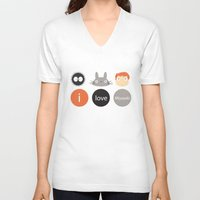 miyazaki V-neck T-shirts featuring I Love Miyazaki by Etiquette