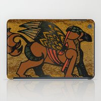 mythology iPad Cases featuring Gryphon New Age Mythology Folk Art by BohemianBound